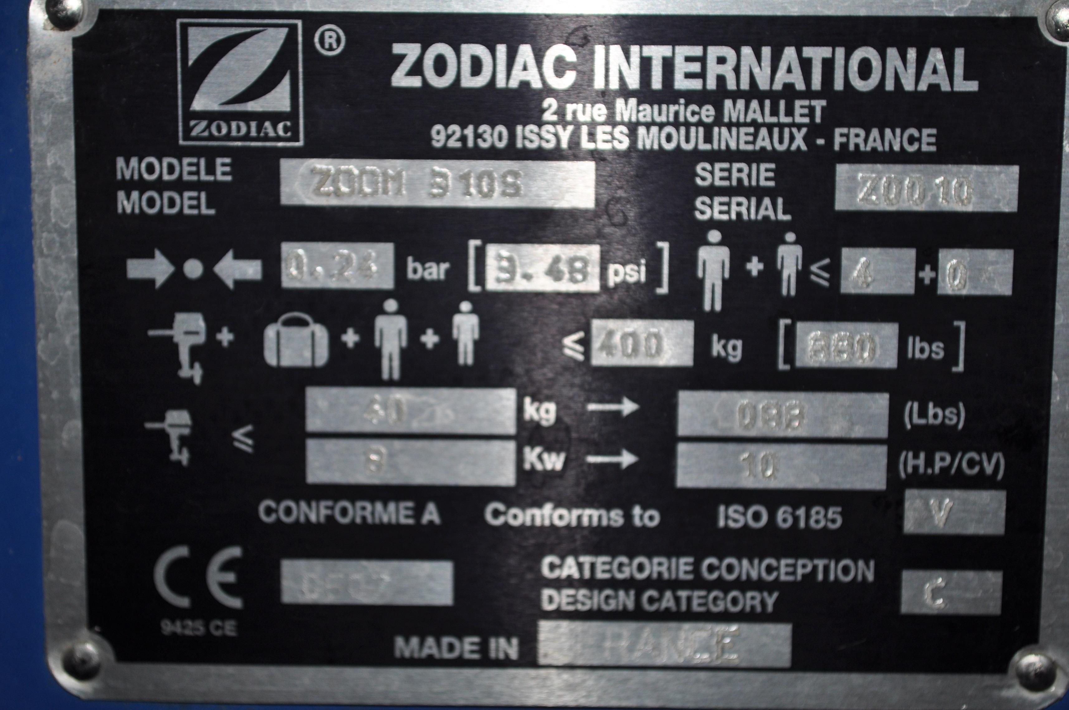 ZODIAC ZOOM 310S plancher rigide en bois année 2003